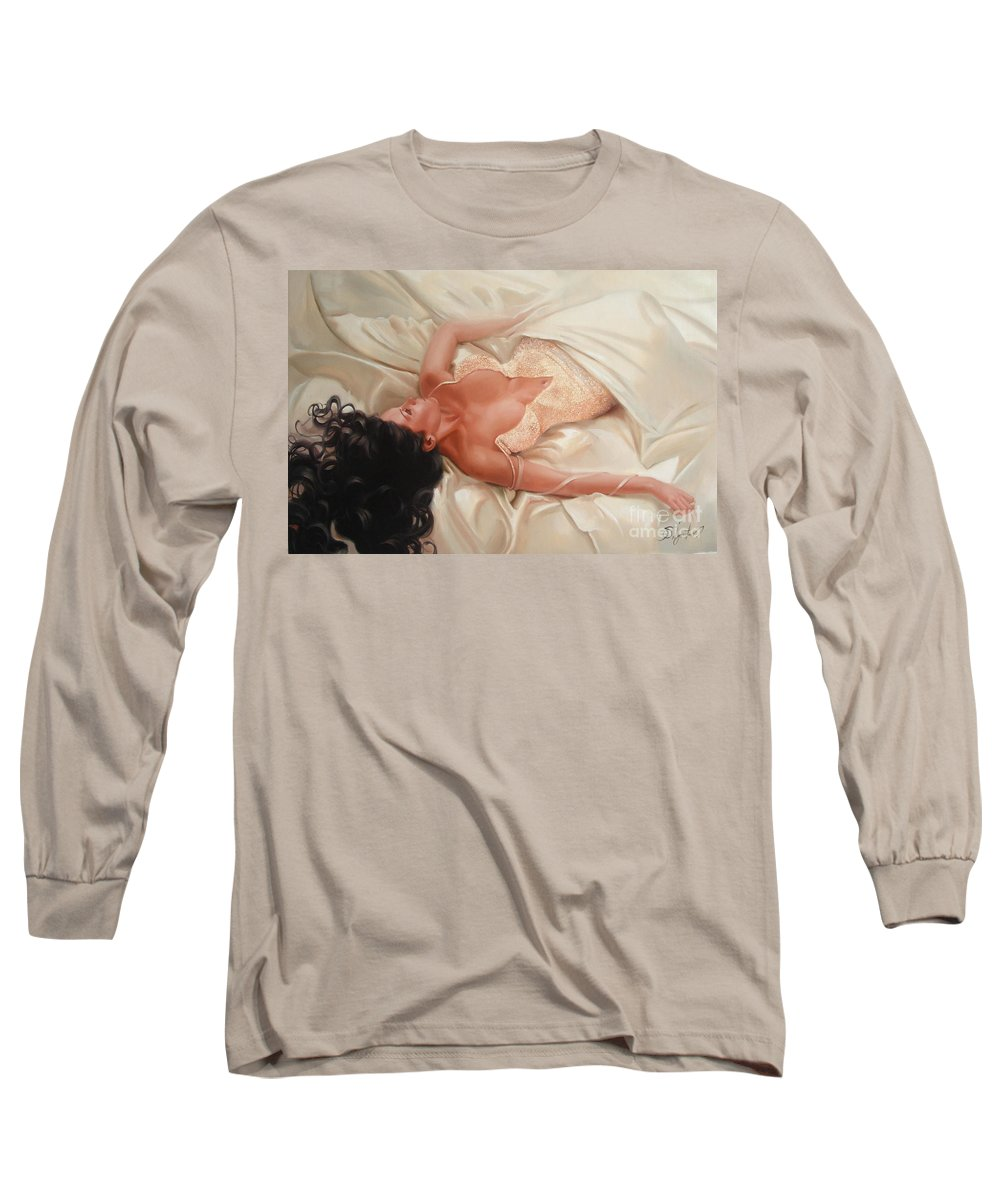 Art Long Sleeve T-Shirt featuring the painting Silk And Thrill by Sergey Ignatenko