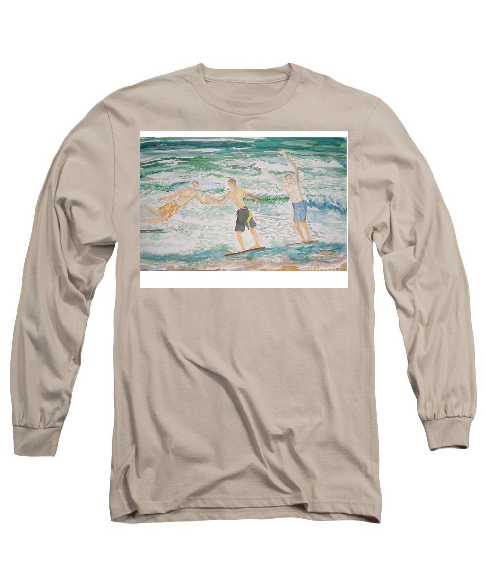 Seascape Long Sleeve T-Shirt featuring the painting Skim Boarding Daytona Beach by Hal Newhouser