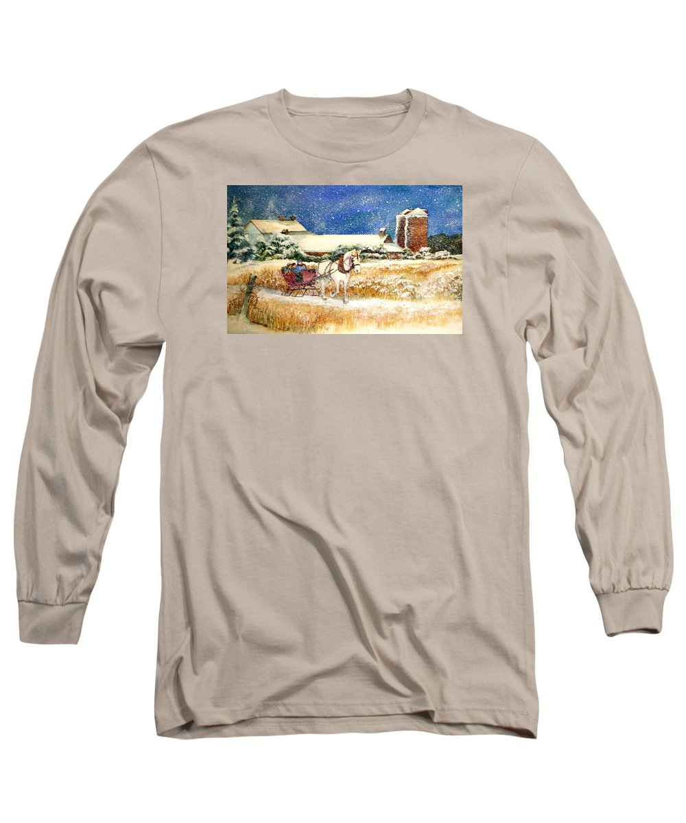 Watercolor;sleigh;horse;barn;silos;winter;snow;sleigh Ride;christmas; Long Sleeve T-Shirt featuring the painting Sleigh Ride At Brickers by Lois Mountz