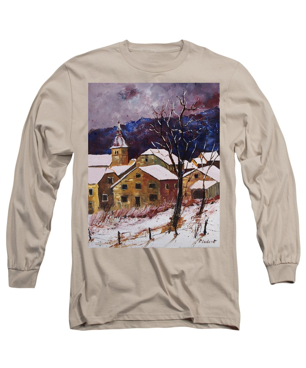 Landscape Long Sleeve T-Shirt featuring the painting Snow In Chassepierre by Pol Ledent