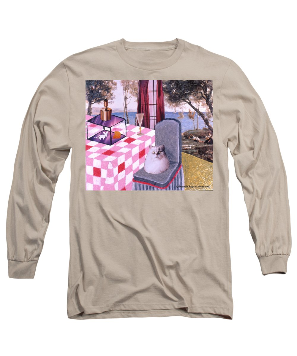 Cat Long Sleeve T-Shirt featuring the drawing Soap Scene #14 Mouse In A Cage by Minaz Jantz