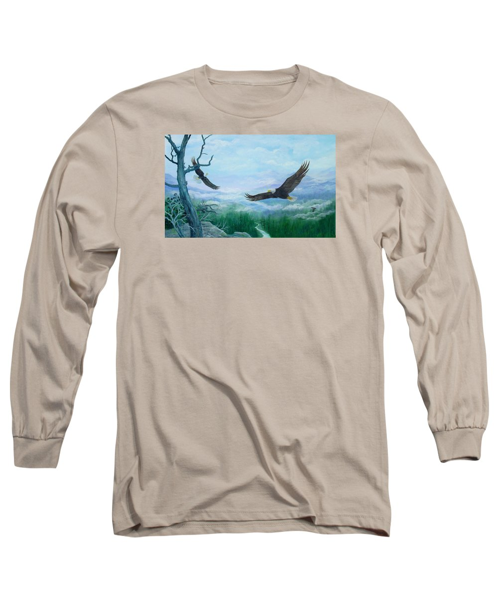 Eagles;birds;river Valley;mountains;sky; Long Sleeve T-Shirt featuring the painting Soaring by Lois Mountz