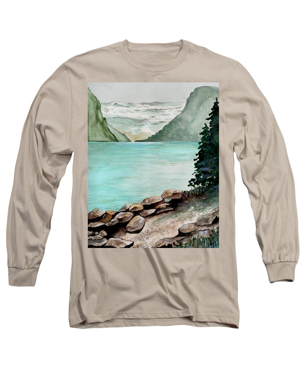 Watercolor Long Sleeve T-Shirt featuring the painting Solitude Of The Lake by Brenda Owen