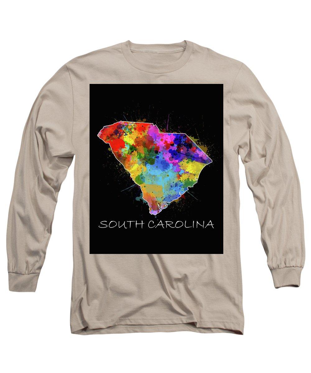 South Carolina Long Sleeve T-Shirt featuring the digital art South Carolina Map Color Splatter 2 by Bekim M