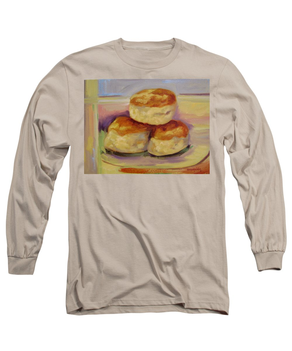 Biscuits Long Sleeve T-Shirt featuring the painting Southern Morning Fare by Ginger Concepcion