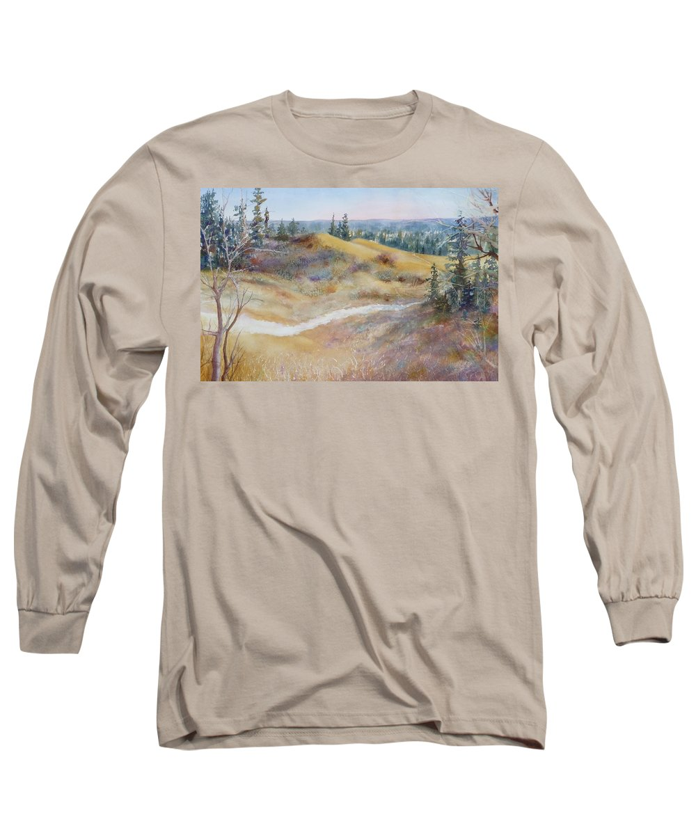 Landscape Long Sleeve T-Shirt featuring the painting Spirit Sands by Ruth Kamenev