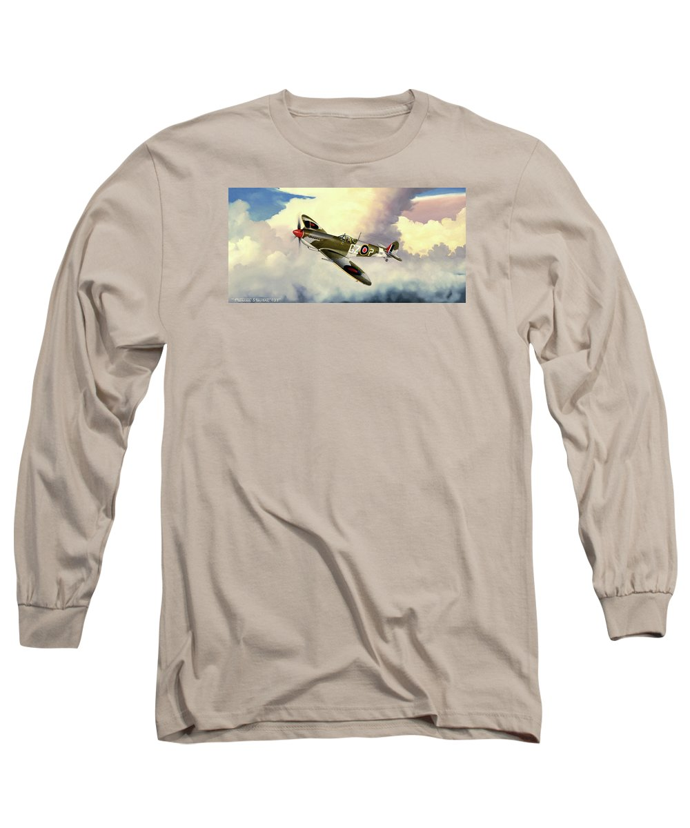 Military Long Sleeve T-Shirt featuring the painting Spitfire by Marc Stewart