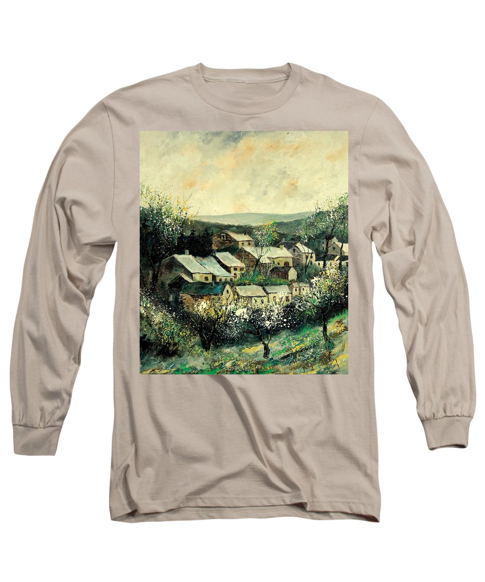 Spring Long Sleeve T-Shirt featuring the painting Spring In The Ardennes Belgium by Pol Ledent