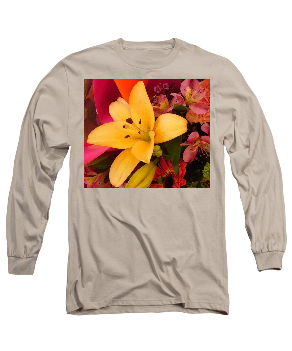 Lily Long Sleeve T-Shirt featuring the painting Spring Lily Bouquet by Amy Vangsgard
