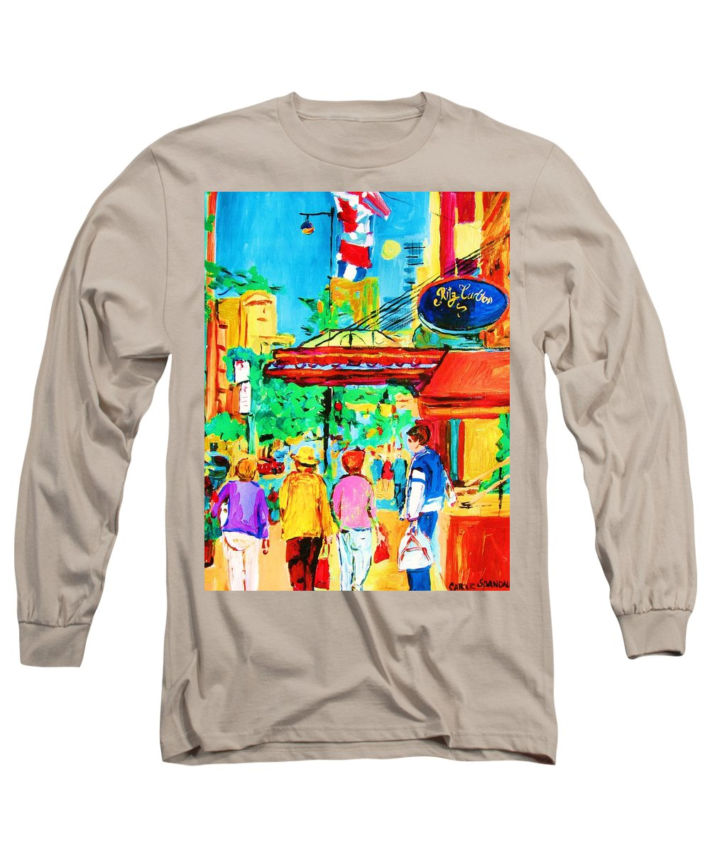 Paintings Of The Ritz Carlton On Sherbrooke Street Montreal Art Long Sleeve T-Shirt featuring the painting Springtime Stroll by Carole Spandau