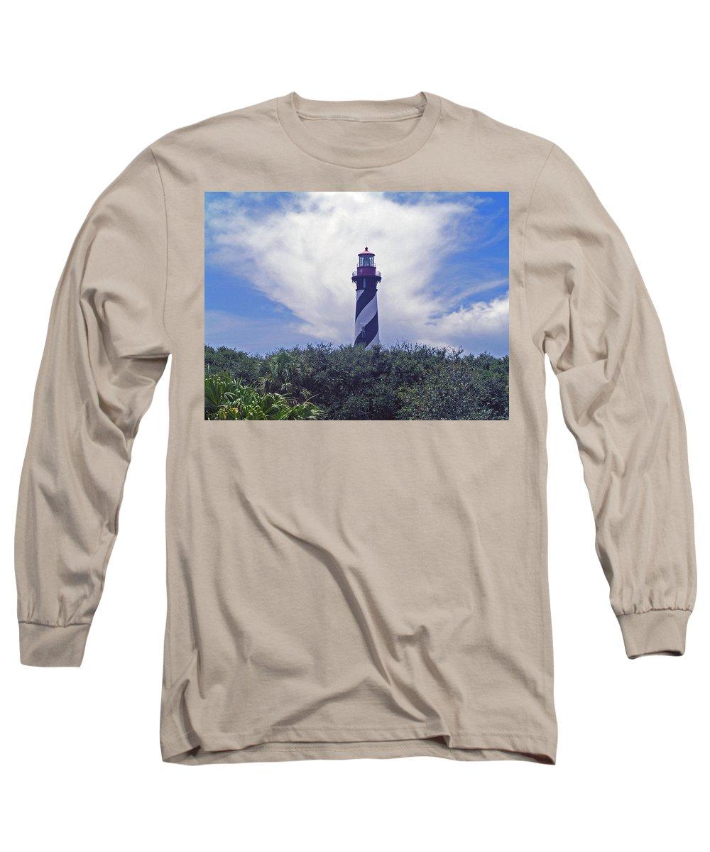 Lighthouse; Light; House; Keeper; St. Augustine; Florida; Coast; Shine; Fog; Storms; U.s.; Coast Gua Long Sleeve T-Shirt featuring the photograph St Augustine Light On The Atlantic Coast Of Florida by Allan Hughes