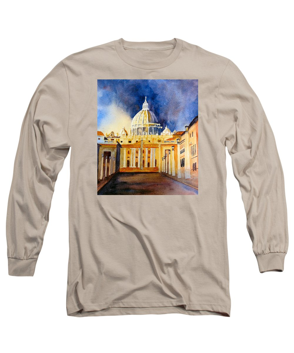 Vatican Long Sleeve T-Shirt featuring the painting St. Peters Basilica by Karen Stark