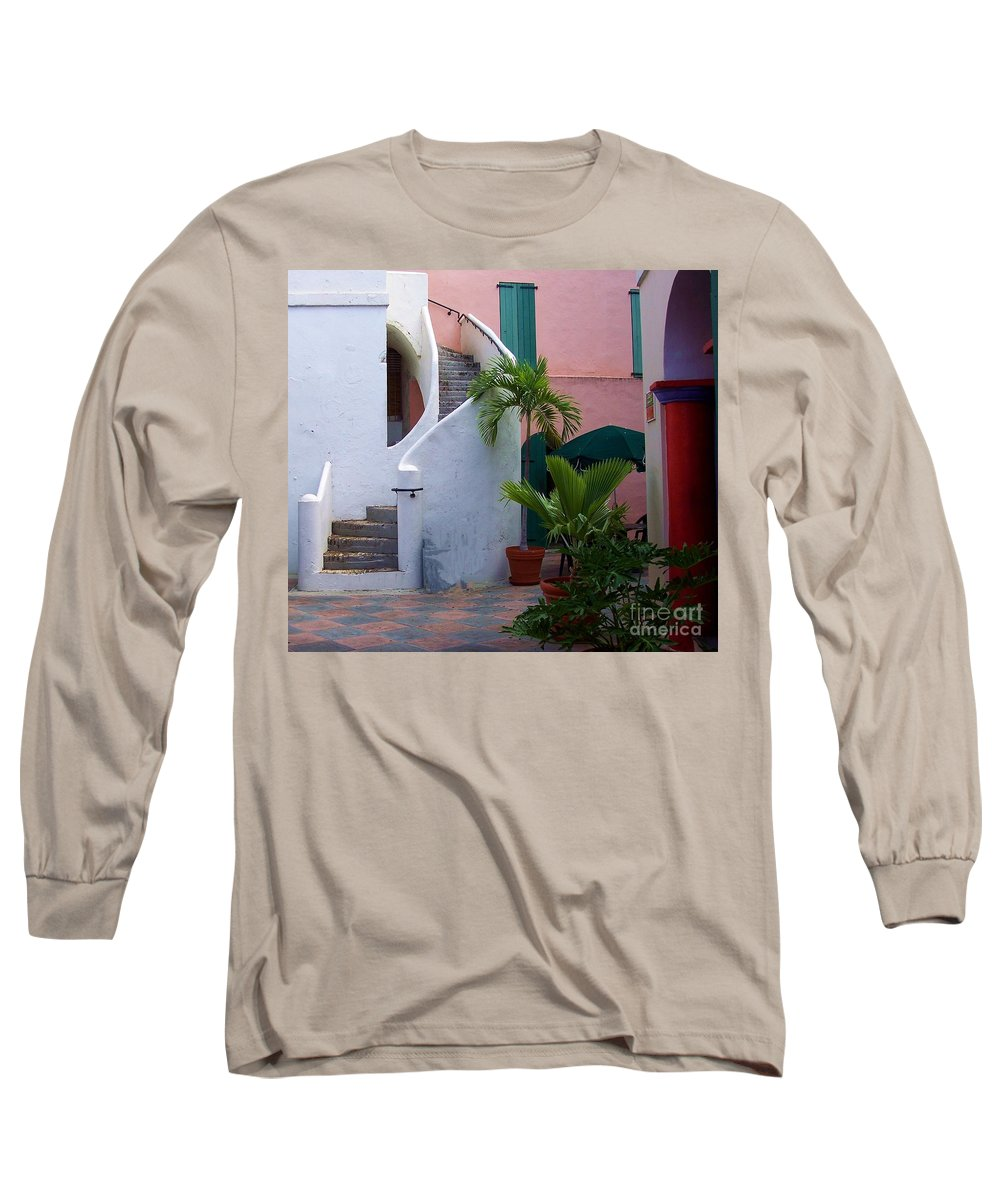 Architecture Long Sleeve T-Shirt featuring the photograph St. Thomas Courtyard by Debbi Granruth
