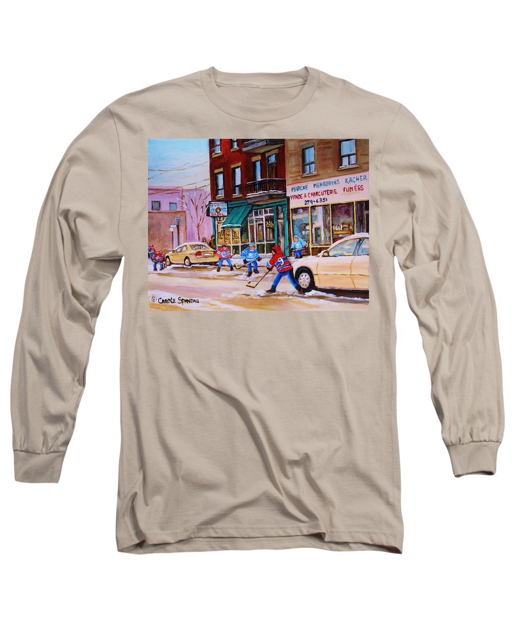 Montreal Long Sleeve T-Shirt featuring the painting St. Viateur Bagel With Boys Playing Hockey by Carole Spandau