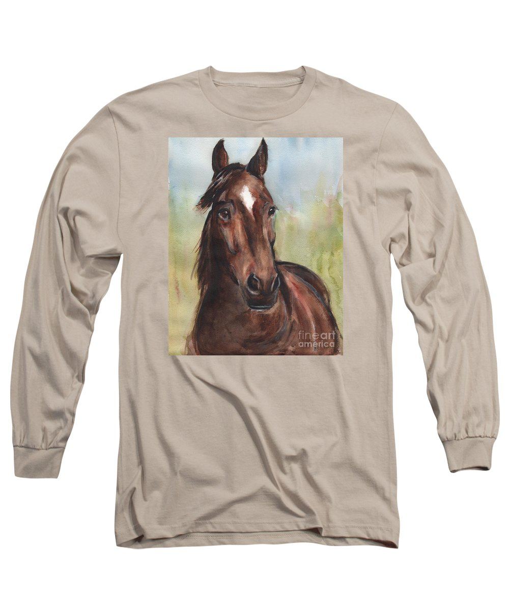 Standardbred Horse Long Sleeve T-Shirt featuring the painting Standardbred Horse Head by Maria Reichert