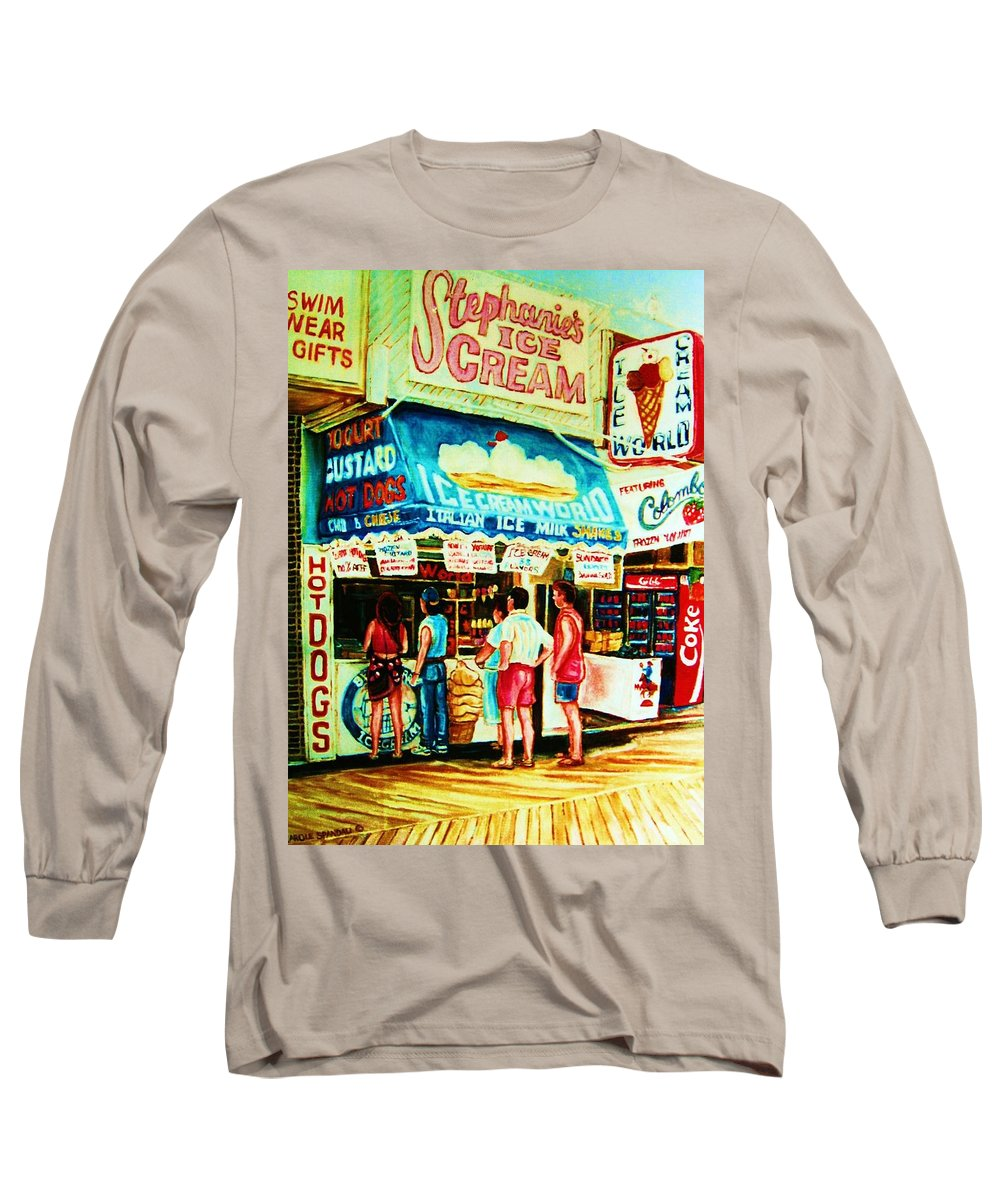 Children Long Sleeve T-Shirt featuring the painting Stephanies Icecream Stand by Carole Spandau
