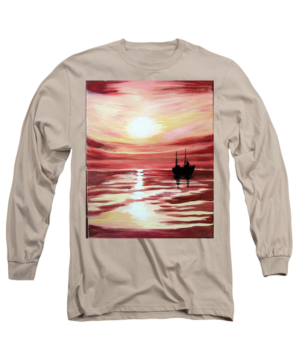 Seascape Long Sleeve T-Shirt featuring the painting Still Waters Run Deep by Marco Morales