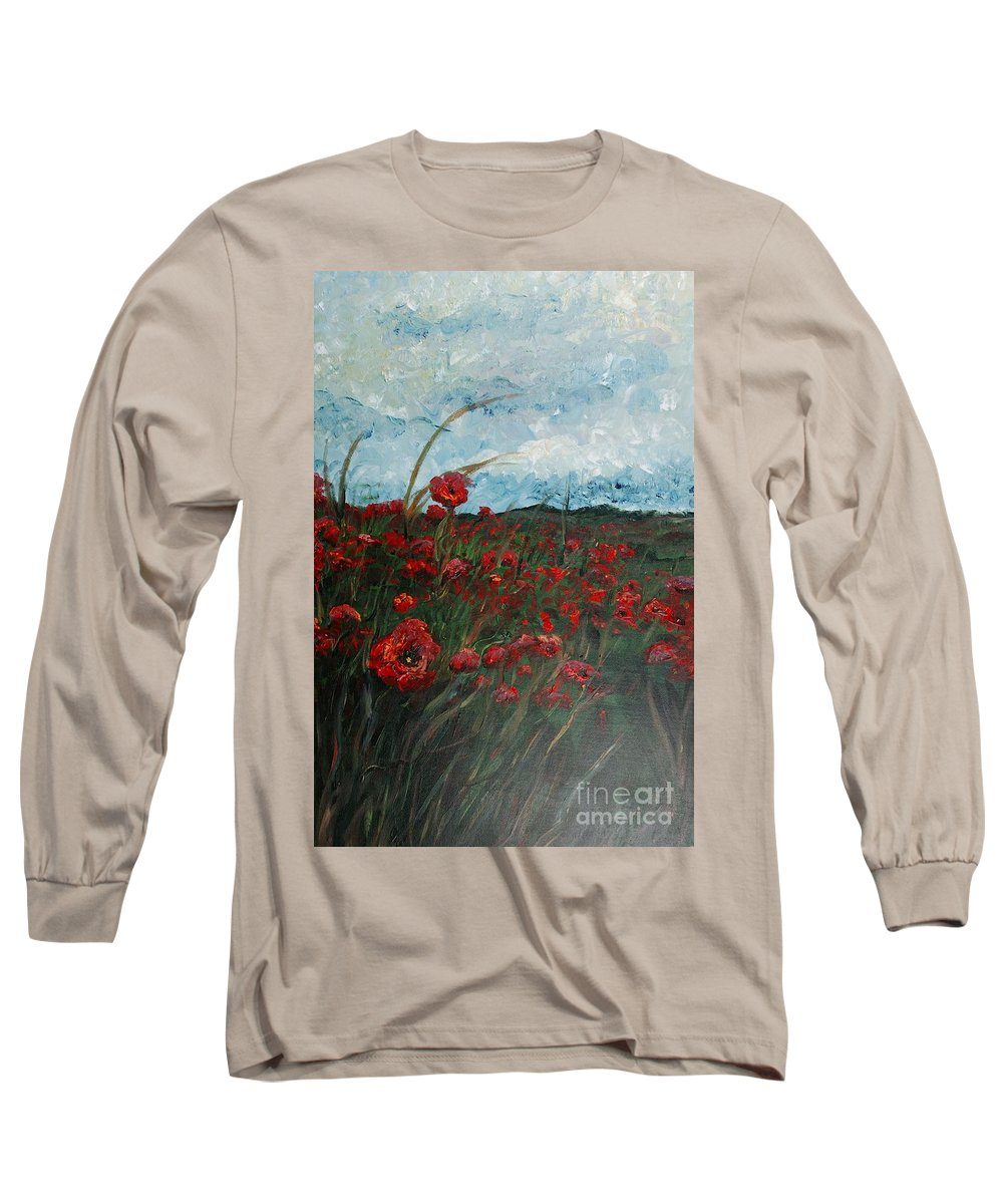 Poppies Long Sleeve T-Shirt featuring the painting Stormy Poppies by Nadine Rippelmeyer