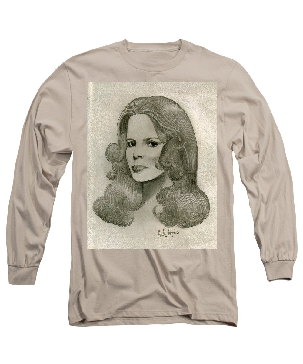 Drawing Long Sleeve T-Shirt featuring the drawing Sultry Smile by Marco Morales