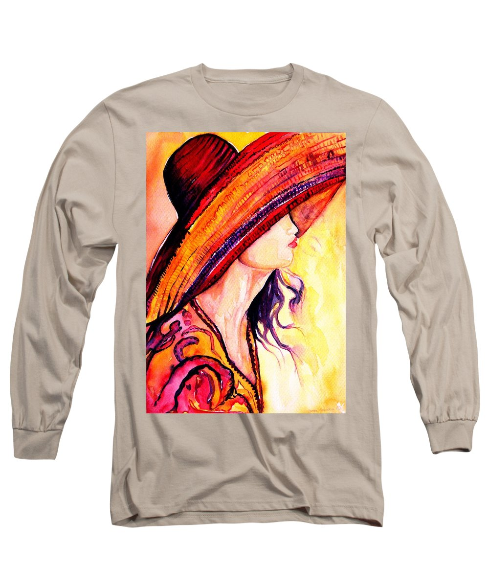 Elegant Lady Long Sleeve T-Shirt featuring the painting Summer Hat by Carole Spandau