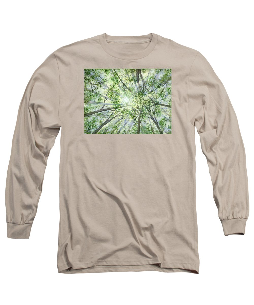 Trees Long Sleeve T-Shirt featuring the painting Summer Rays by Lynn Quinn