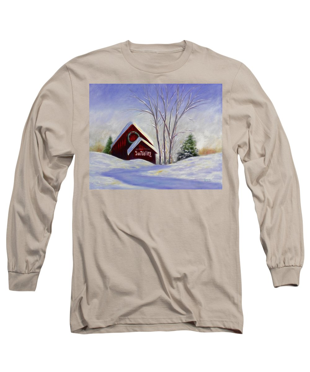 Landscape White Long Sleeve T-Shirt featuring the painting Sun Valley 1 by Shannon Grissom