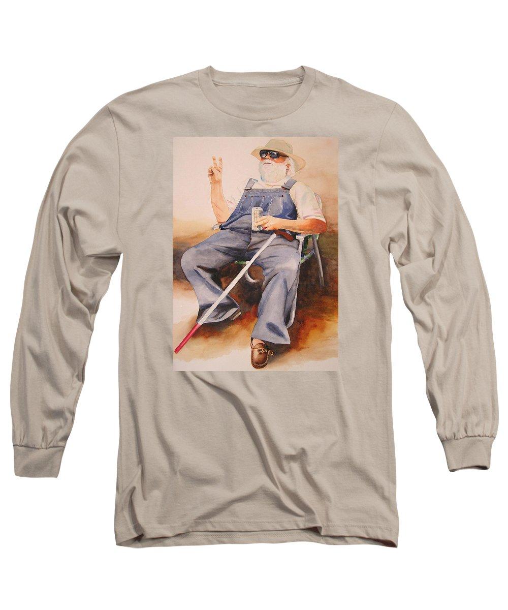 Blind Man Long Sleeve T-Shirt featuring the painting Sun Worshipper by Karen Stark