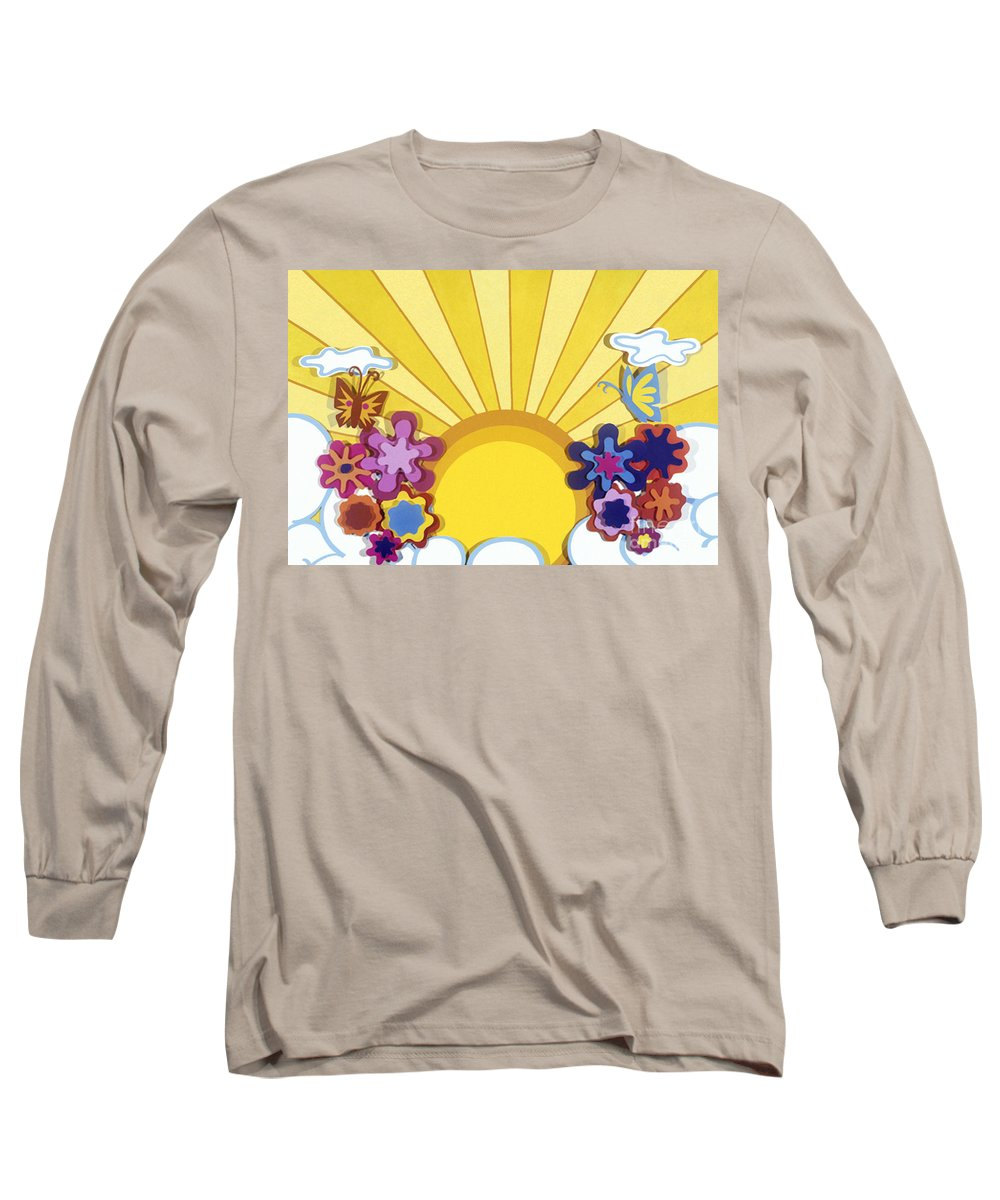 Nature Long Sleeve T-Shirt featuring the drawing Sunburst by Lucyna A M Green