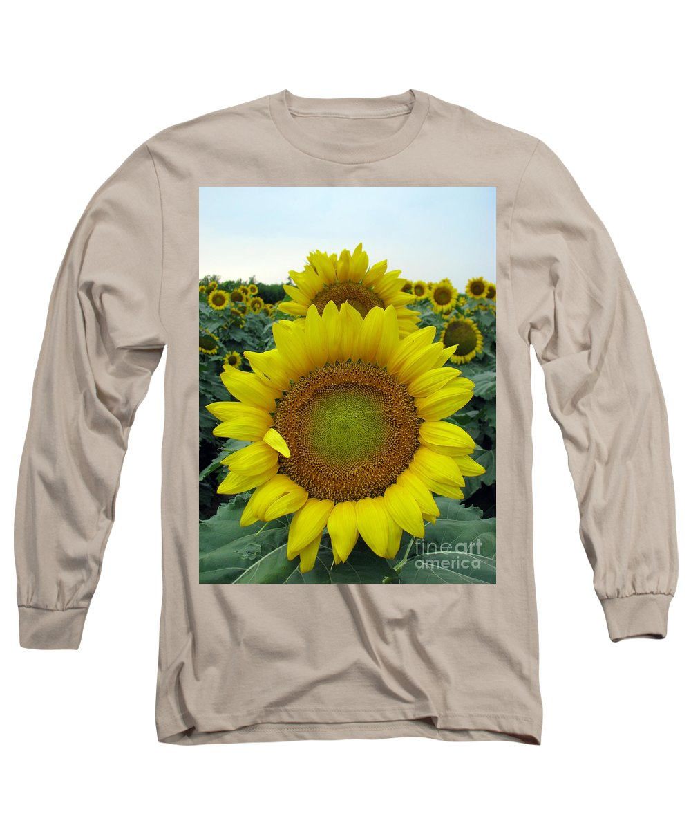 Sunflowers Long Sleeve T-Shirt featuring the photograph Sunflowers by Amanda Barcon