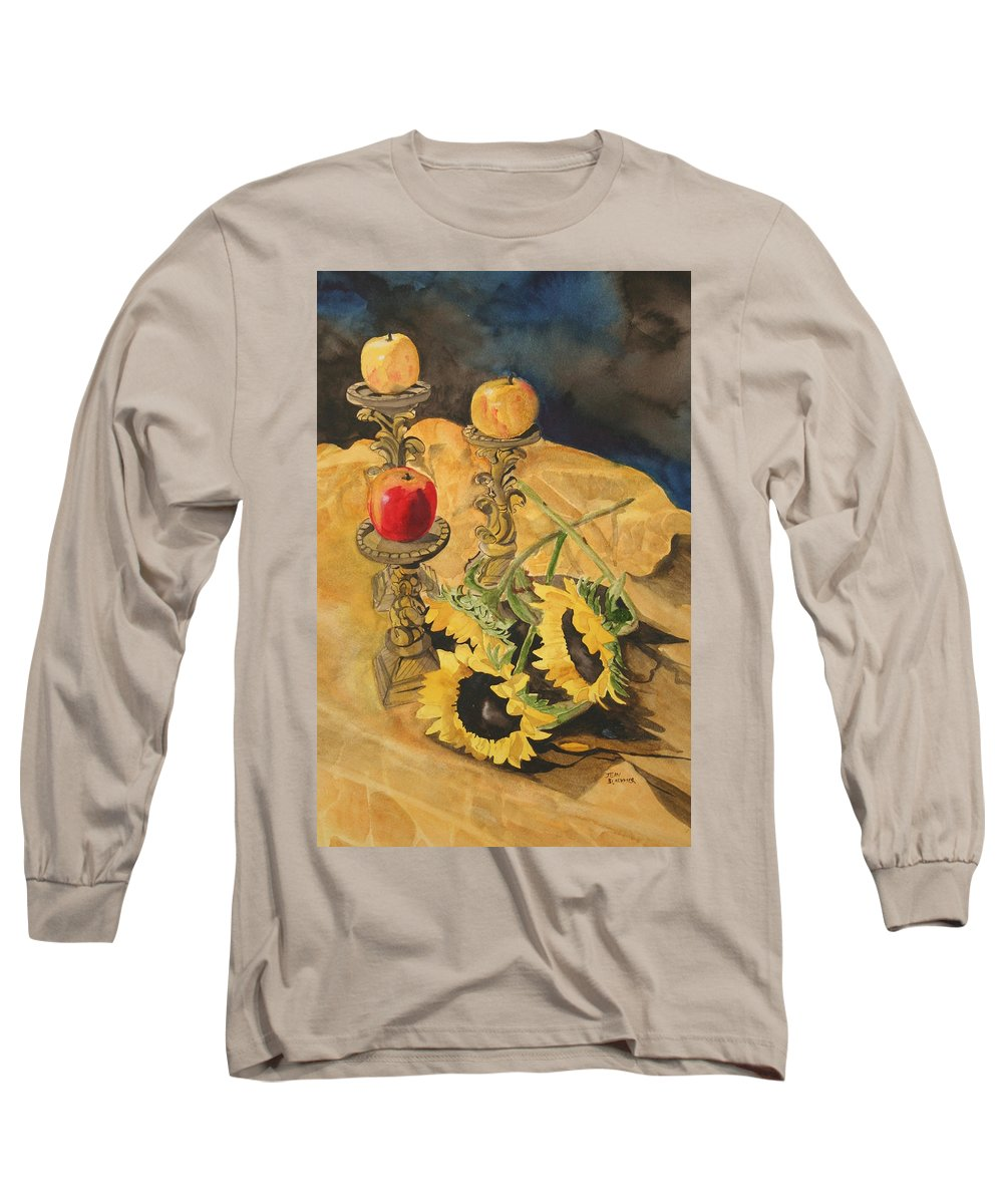 Still Life Long Sleeve T-Shirt featuring the painting Sunflowers And Apples by Jean Blackmer