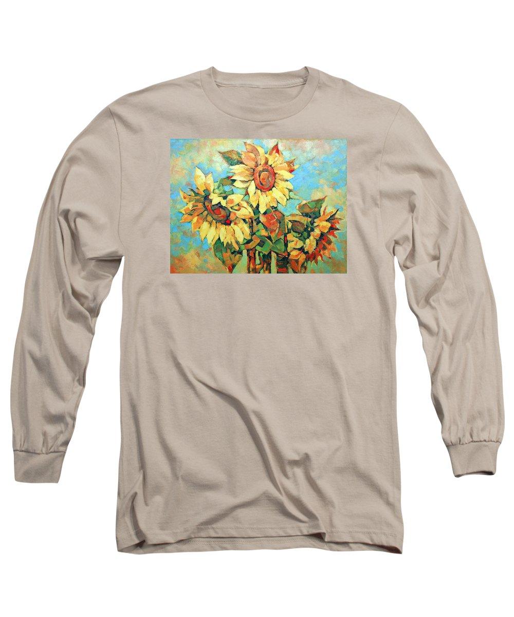 Sunflowers Long Sleeve T-Shirt featuring the painting Sunflowers by Iliyan Bozhanov