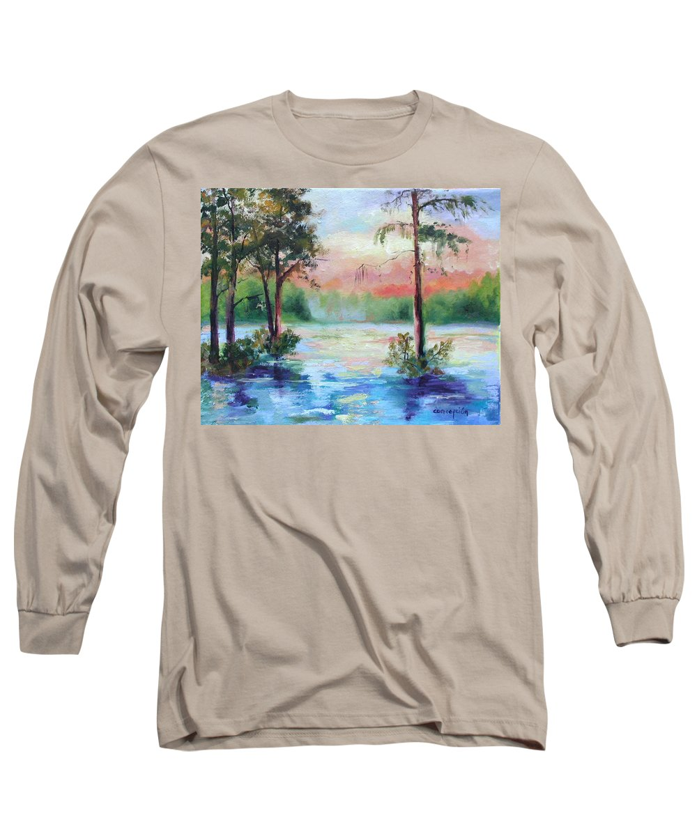 Sunset Long Sleeve T-Shirt featuring the painting Sunset Bayou by Ginger Concepcion