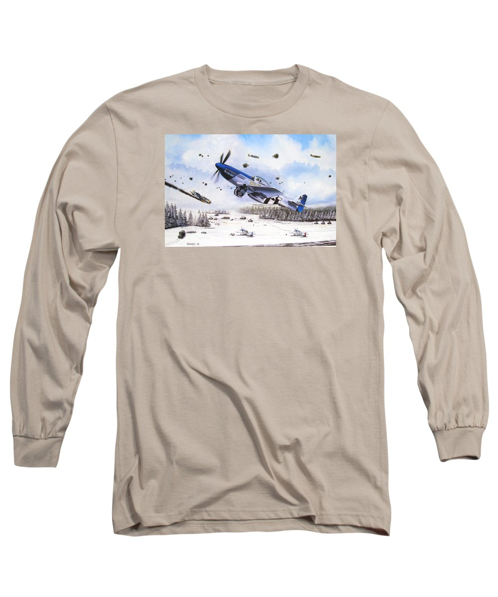 Aviation Long Sleeve T-Shirt featuring the painting Surprise At Asch by Marc Stewart