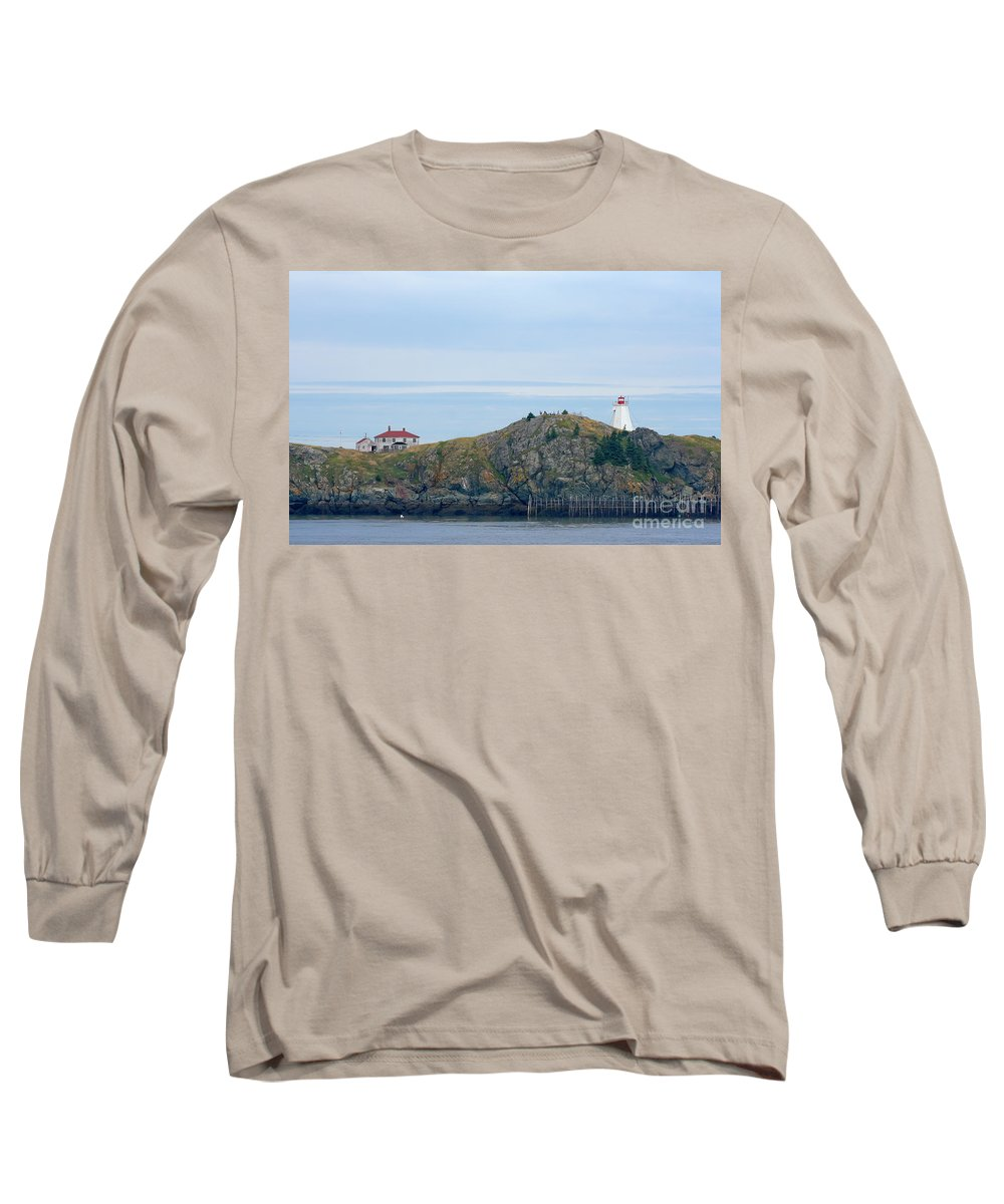 Lighthouse Long Sleeve T-Shirt featuring the photograph Swallowtail Lighthouse And Keeper by Thomas Marchessault