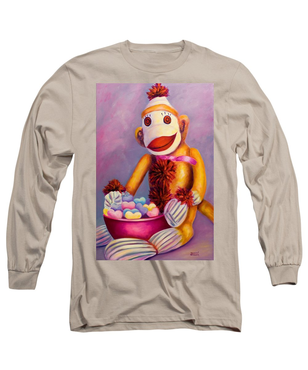 Heart Long Sleeve T-Shirt featuring the painting Sweetheart Made Of Sockies by Shannon Grissom