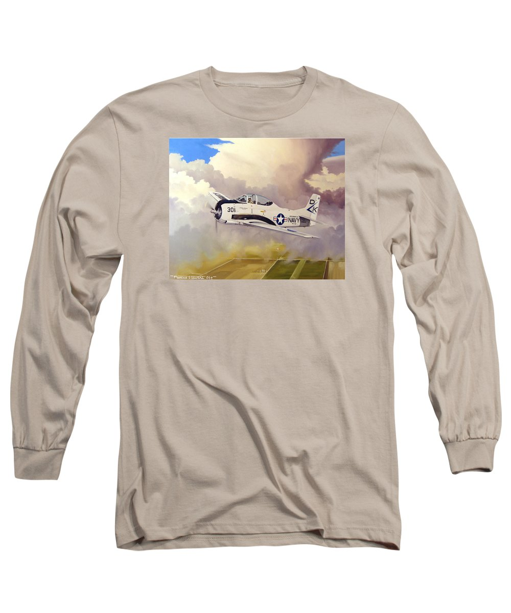 Military Long Sleeve T-Shirt featuring the painting T-28 Over Iowa by Marc Stewart
