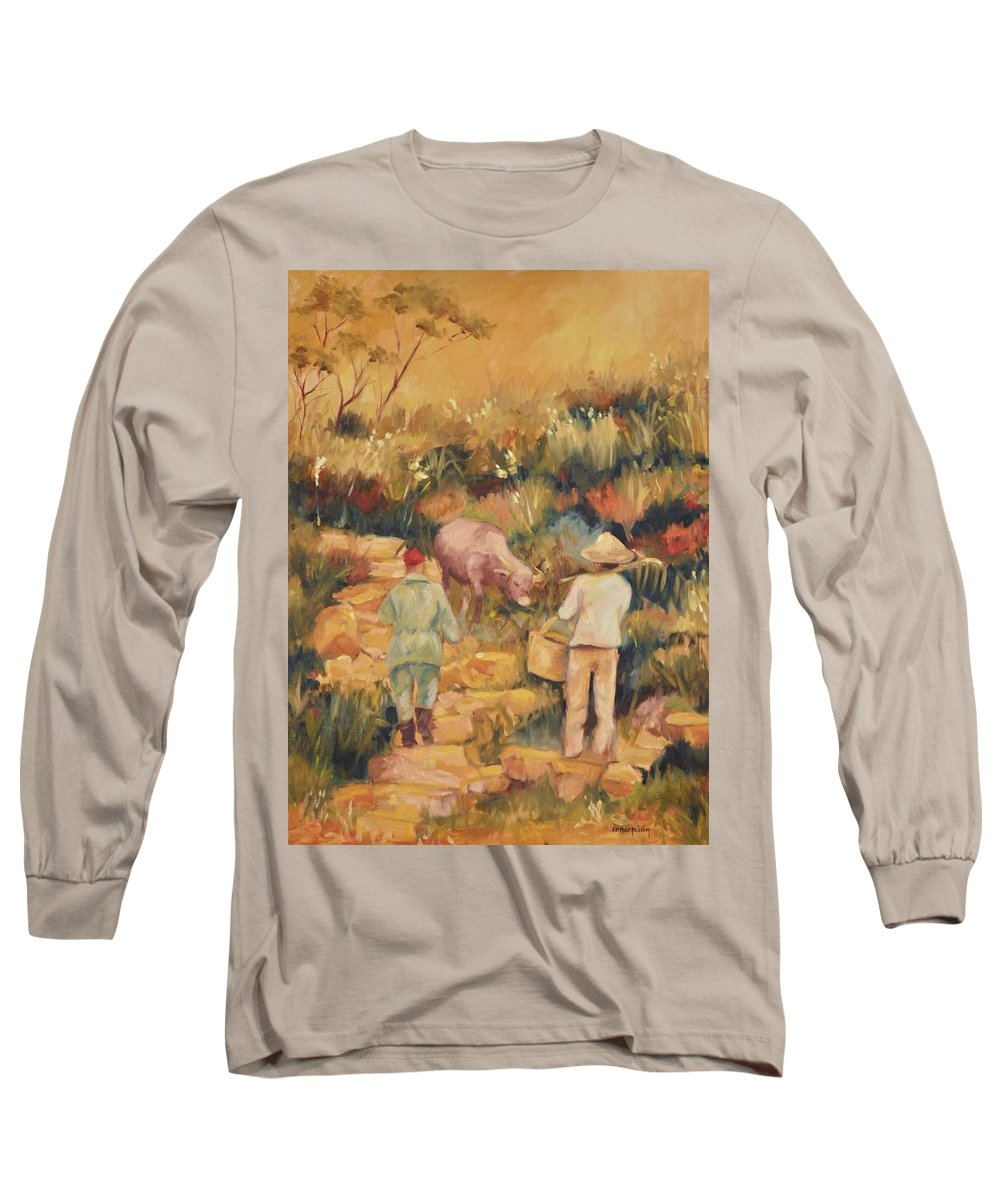 Water Buffalo Long Sleeve T-Shirt featuring the painting Taipei Buffalo Herder by Ginger Concepcion