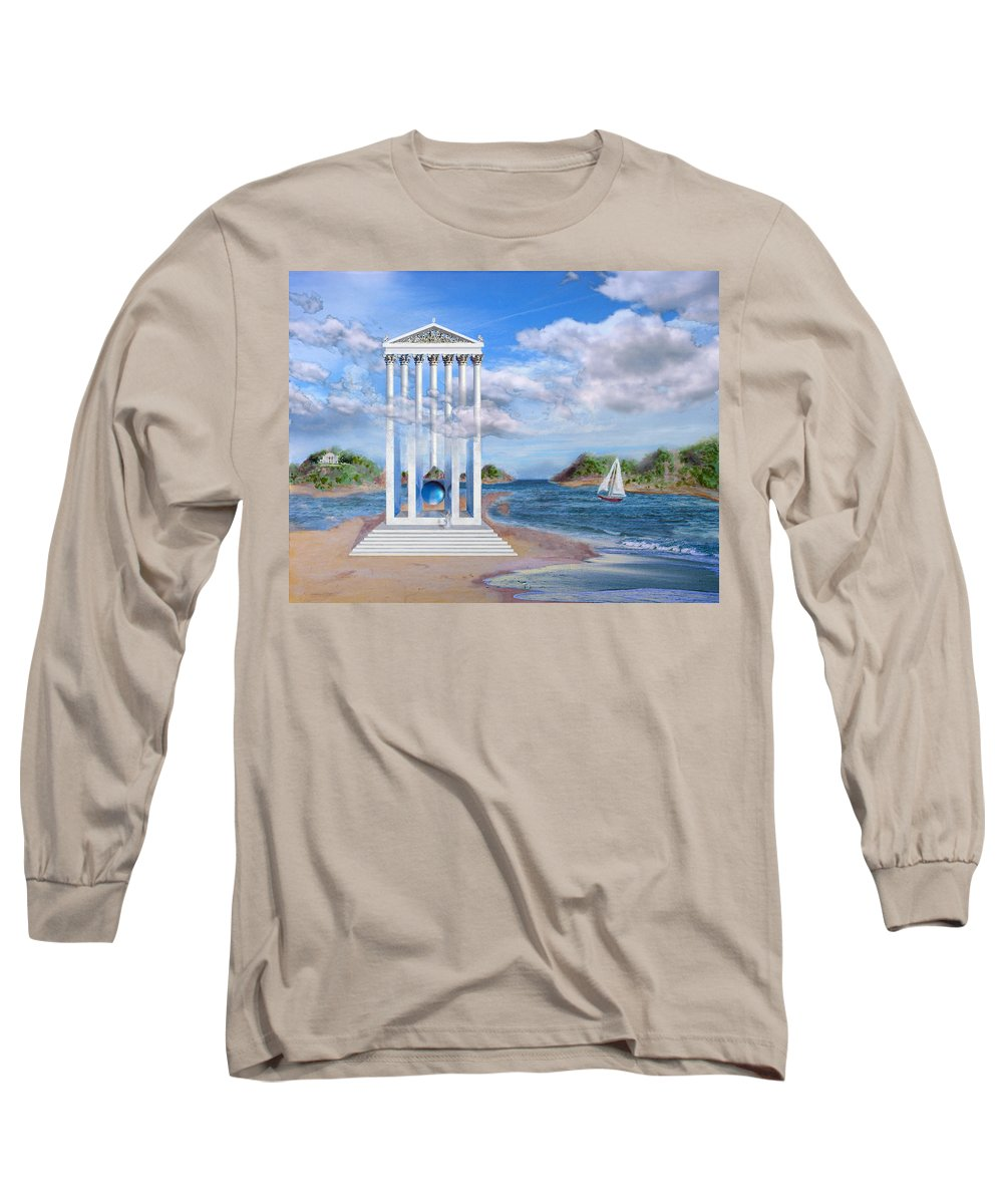 Landscape Long Sleeve T-Shirt featuring the painting Temple For No One by Steve Karol