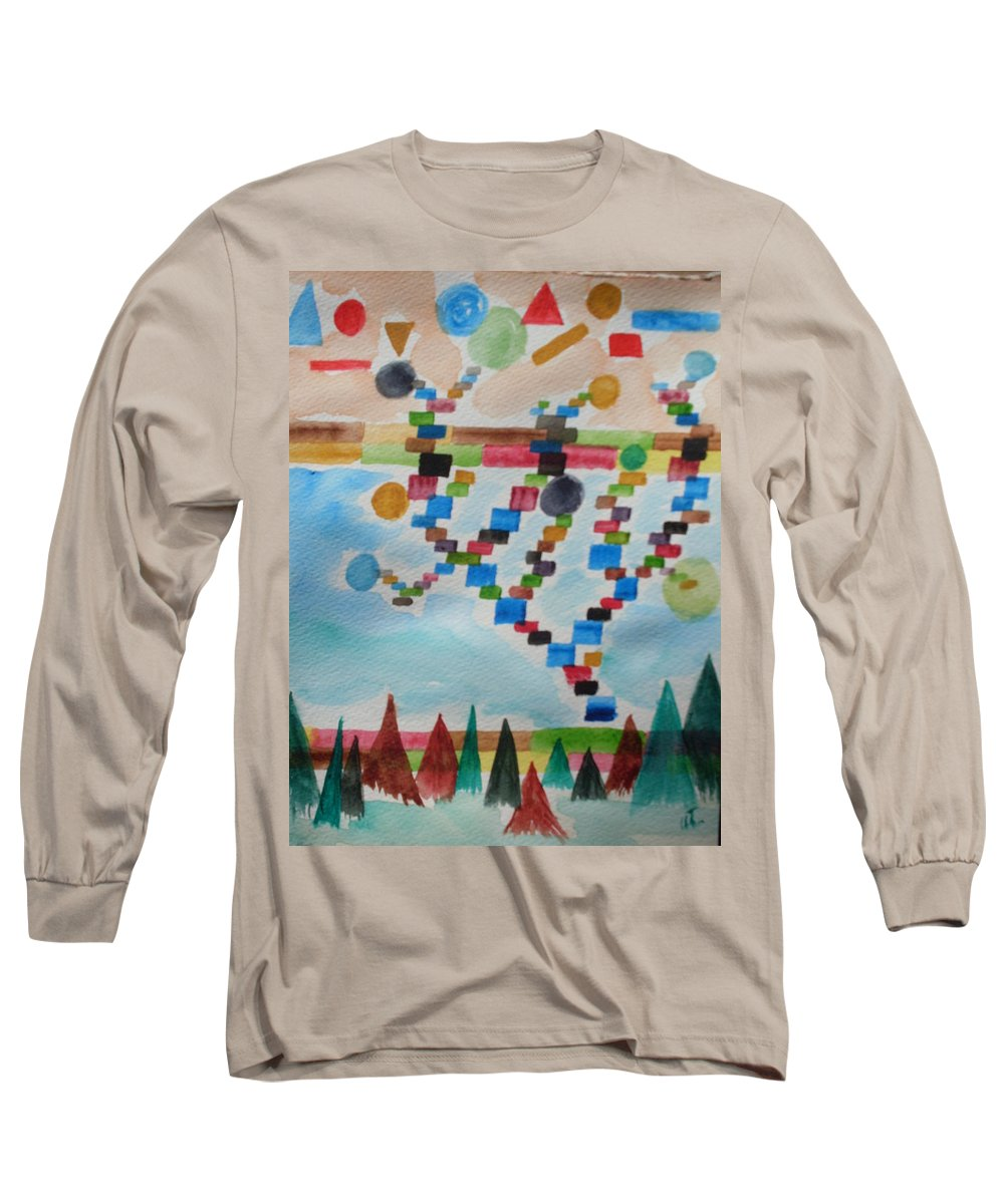 Abstract Long Sleeve T-Shirt featuring the painting Tetrus Meets Nature by Warren Thompson