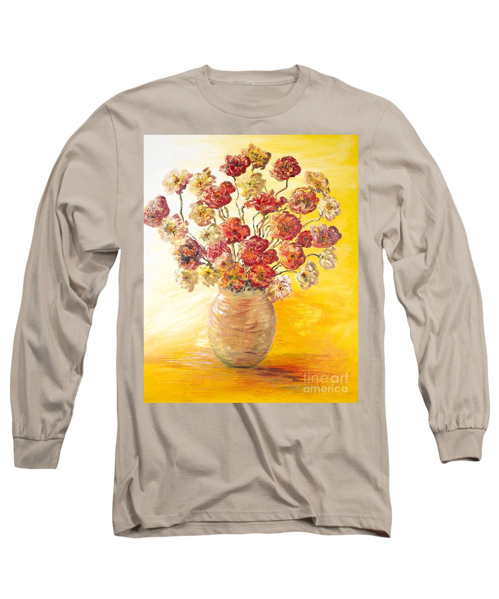 Flowers Long Sleeve T-Shirt featuring the painting Textured Flowers In A Vase by Nadine Rippelmeyer
