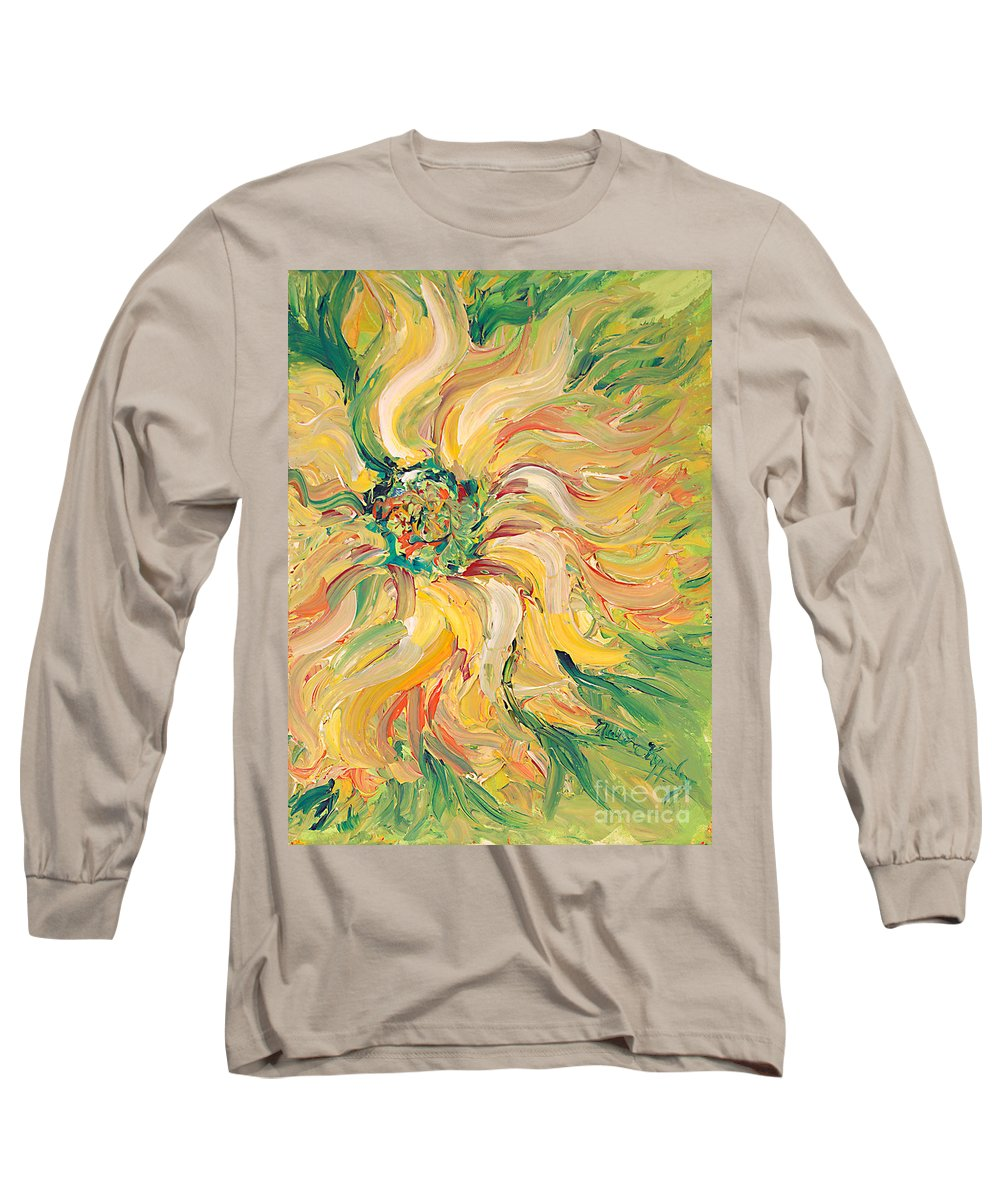 Texture Long Sleeve T-Shirt featuring the painting Textured Green Sunflower by Nadine Rippelmeyer
