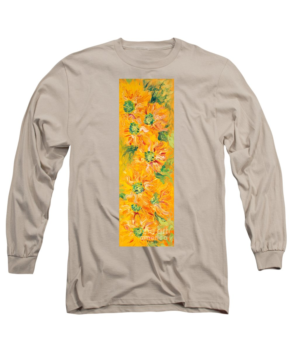 Yellow Long Sleeve T-Shirt featuring the painting Textured Yellow Sunflowers by Nadine Rippelmeyer