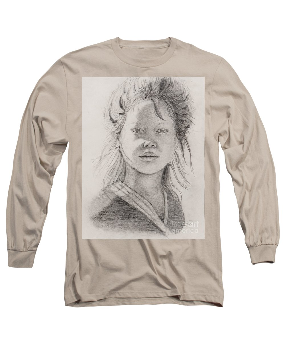 Portrait Long Sleeve T-Shirt featuring the drawing Thai Beauty by Nadine Rippelmeyer