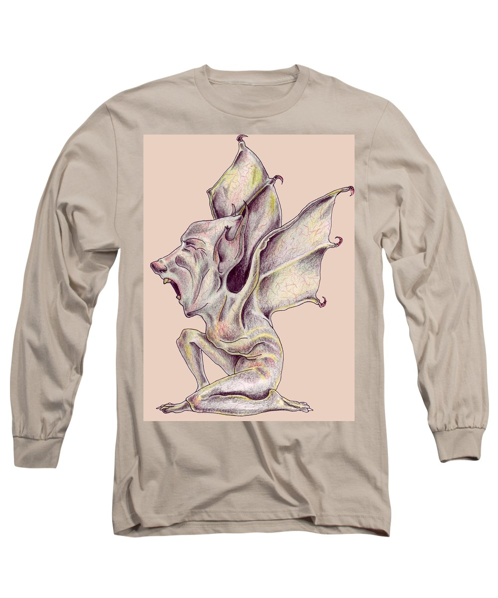 Bat Rat Man Drawings Color Pencil Long Sleeve T-Shirt featuring the drawing That Bat Man Rat by Veronica Jackson