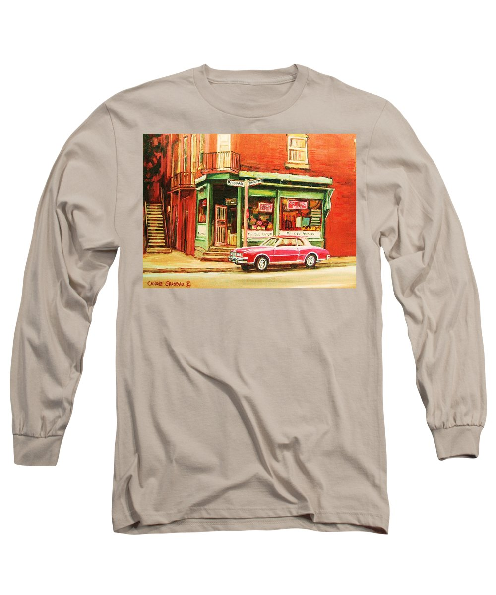 Montreal Long Sleeve T-Shirt featuring the painting The Arcadia Five And Dime Store by Carole Spandau