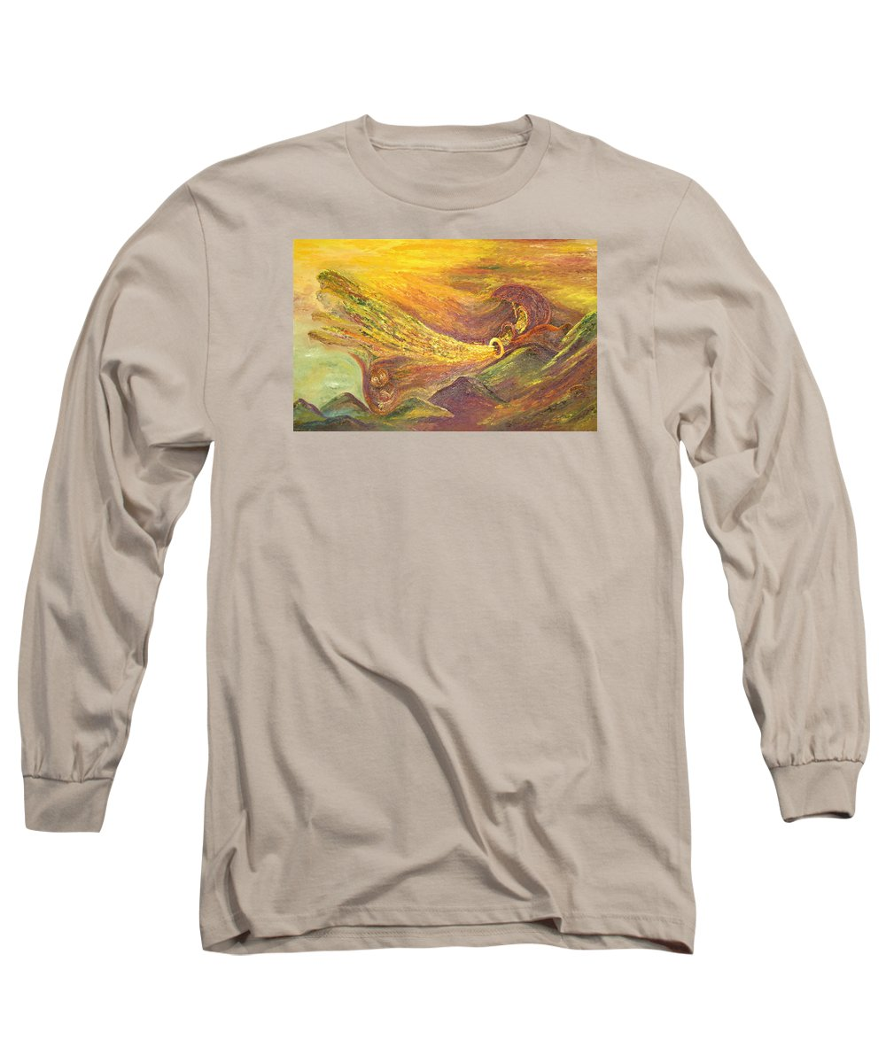 Autumn Long Sleeve T-Shirt featuring the painting The Autumn Music Wind by Karina Ishkhanova