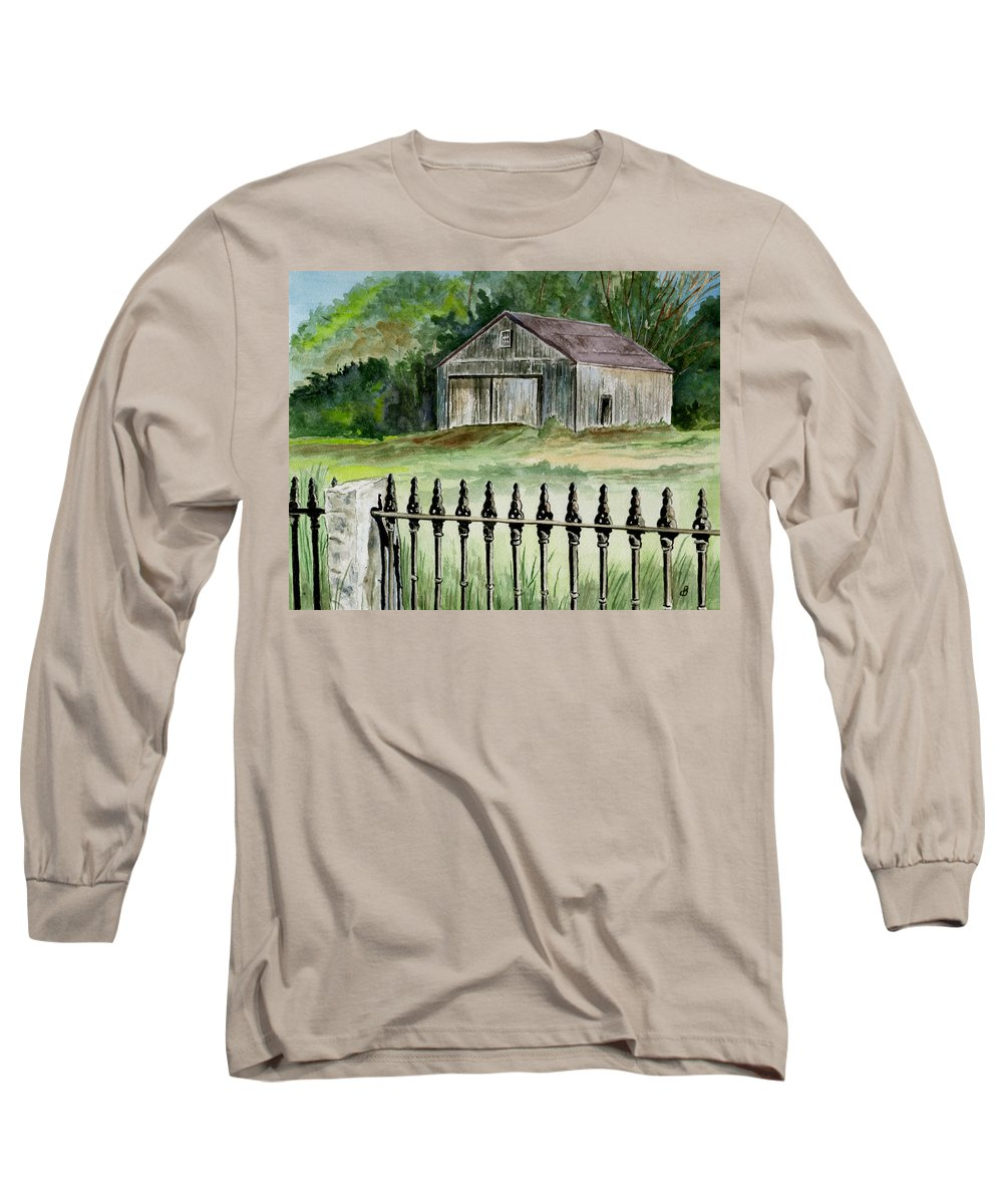 Landscape Long Sleeve T-Shirt featuring the painting The Barn At Parsonsfield Maine by Brenda Owen
