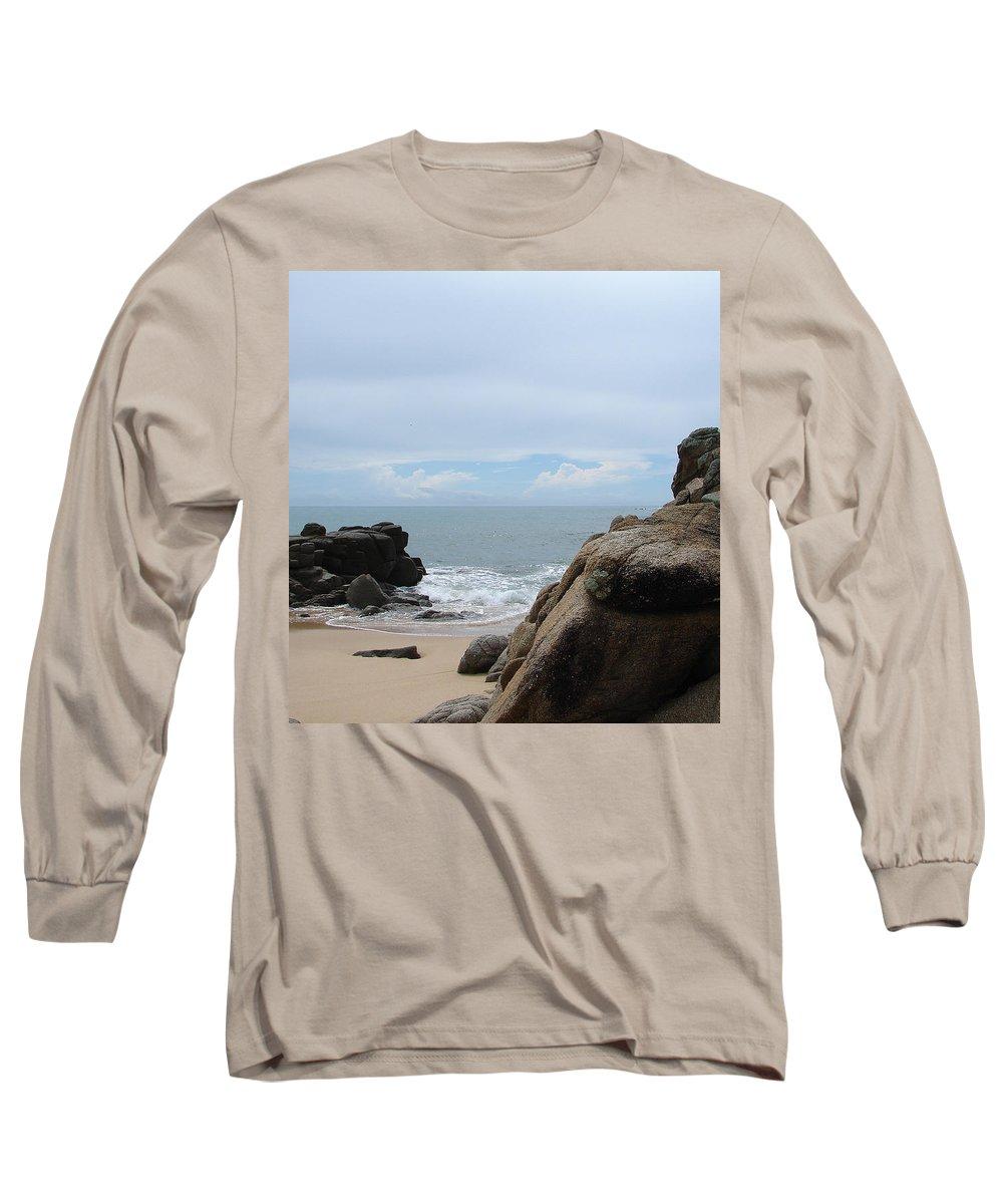 Sand Ocean Clouds Blue Sky Rocks Long Sleeve T-Shirt featuring the photograph The Beach 2 by Luciana Seymour