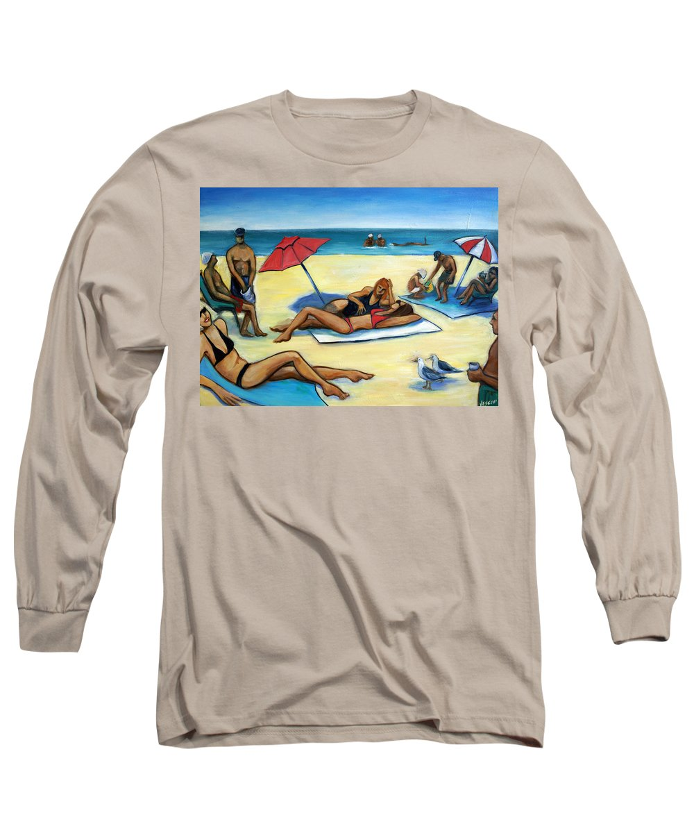 Beach Scene Long Sleeve T-Shirt featuring the painting The Beach by Valerie Vescovi