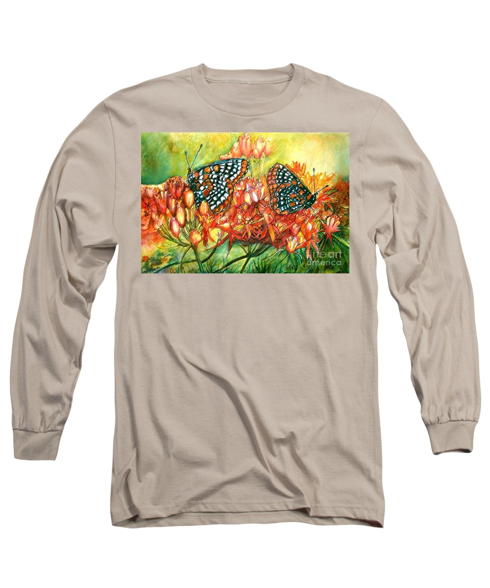 Butterflies Artwork Long Sleeve T-Shirt featuring the painting The Beauty Of Spring by Norma Boeckler